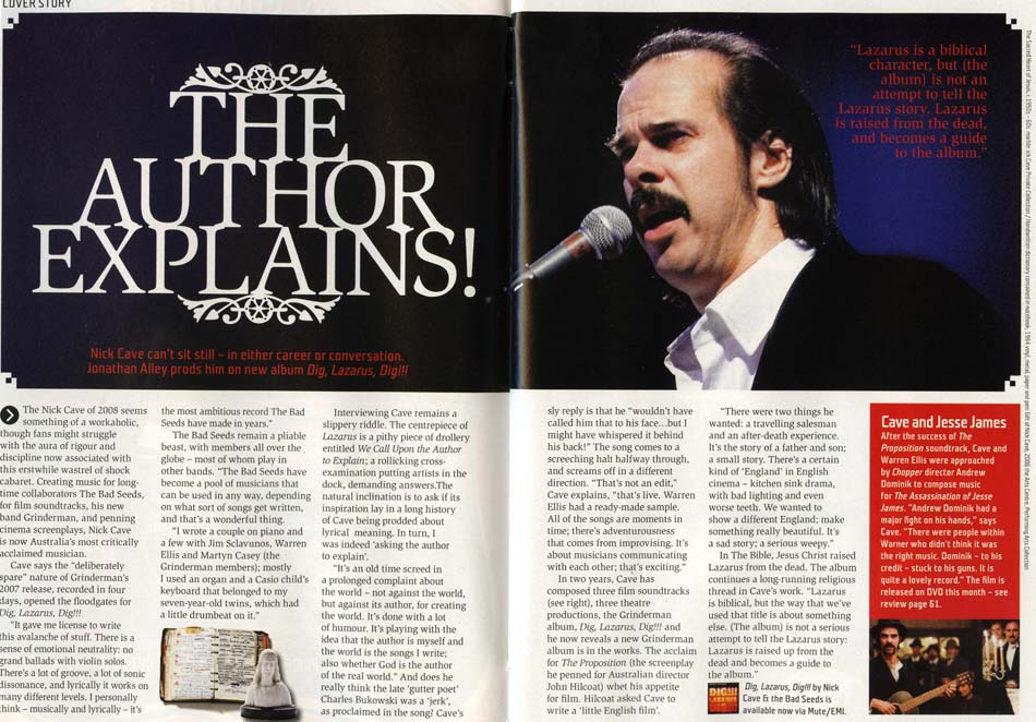 Nick Cave magazine feature photographed byKate Griffin