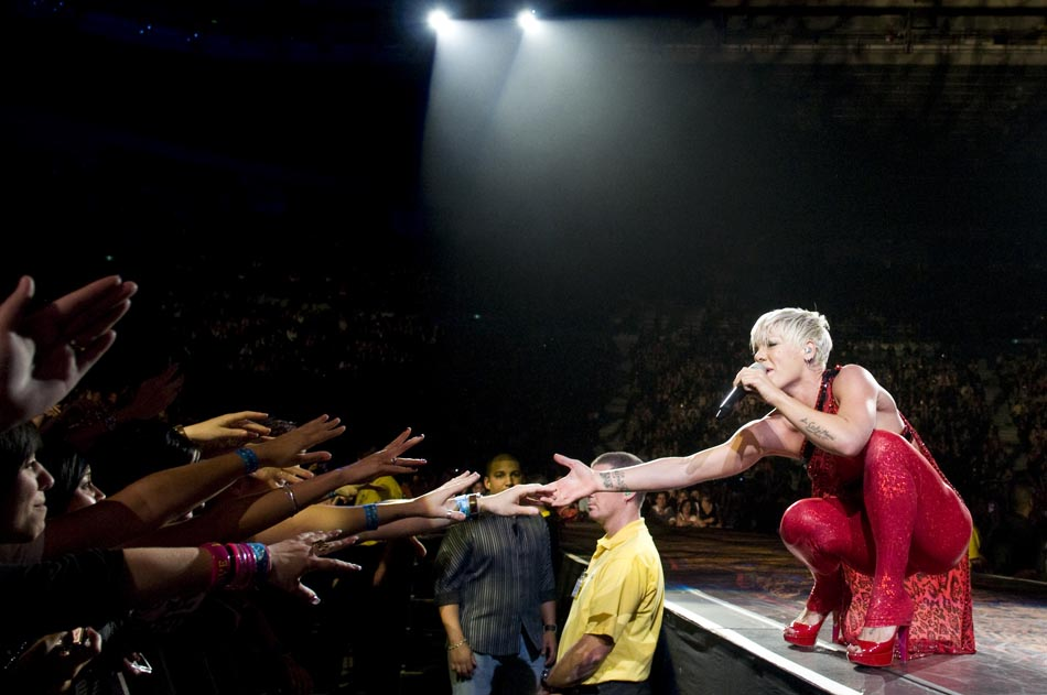 Photo of Pink performing at Rod Laver Arena in June 2009