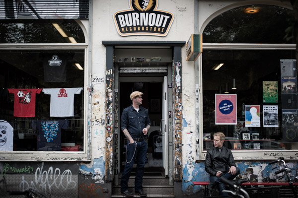 The Peep Tempel sit out the front of Burnout Records in Hamburg